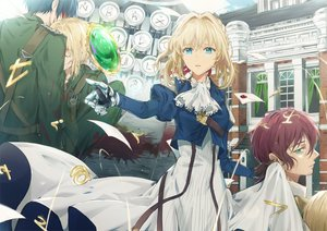 Rating: Safe Score: 38 Tags: aqua_eyes blonde_hair claudia_hodgins dangmill dress gilbert_bougainvillea gloves male paper short_hair techgirl violet_evergarden violet_evergarden_(character) User: RyuZU