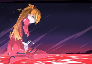 Rating: Safe Score: 55 Tags: blonde_hair blue_eyes bodysuit long_hair neon_genesis_evangelion night sky soryu_asuka_langley stars tagme_(artist) water User: BattlequeenYume