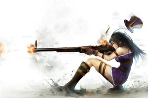 Rating: Safe Score: 267 Tags: black_hair boots caitlyn gun hat league_of_legends long_hair weapon zhang_xiao_bo User: Wiresetc