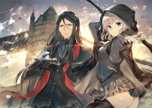 Rating: Questionable Score: 75 Tags: aqua_eyes ass black_hair blonde_hair blue_eyes building cape clouds fate_(series) gloves gray_(lord_el-melloi_ii) hoodie khanshin long_hair lord_el-melloi_ii lord_el-melloi_ii_case_files male skirt sky smoking suit sunset thighhighs weapon yellow_eyes User: sadodere-chan