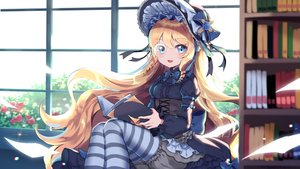 Rating: Safe Score: 62 Tags: aqua_eyes blonde_hair bloomers book bow corset cynthia_(iron_saga) flowers glasses goth-loli hat headdress iron_saga lolita_fashion long_hair mechuragi paper ribbons rose thighhighs User: ssagwp
