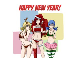 Rating: Safe Score: 99 Tags: bikini blonde_hair blue_eyes blue_hair breasts brown_eyes christmas cleavage erza_scarlet fairy_tail hat juvia_loxar lucy_heartfilia navel red_hair skirt swimsuit thighhighs User: BoobMaster