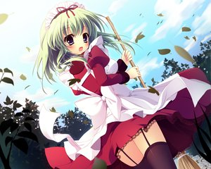 Rating: Safe Score: 102 Tags: angelina_nanatsu_sewell dress green_hair mashiroiro_symphony shiramori_yuse thighhighs User: opai