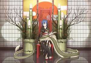Rating: Safe Score: 127 Tags: blue_eyes blue_hair dragon japanese_clothes long_hair original sakais3211 tree User: 02
