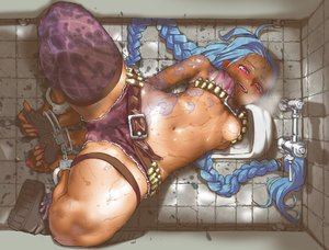 Rating: Questionable Score: 571 Tags: 999knight barefoot blue_hair bondage boots braids gloves jinx_(league_of_legends) jpeg_artifacts league_of_legends long_hair navel pink_eyes shackles shorts tattoo thighhighs underboob wet wristwear User: Soec