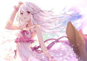 Rating: Safe Score: 107 Tags: blush bow dress hakuya_(white_night) hat long_hair original pink_eyes summer_dress white_hair wristwear User: BattlequeenYume