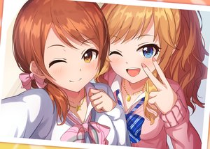Rating: Safe Score: 51 Tags: alisia0812 blonde_hair blue_eyes blush brown_eyes brown_hair close houjou_karen idolmaster idolmaster_cinderella_girls long_hair necklace ootsuki_yui ponytail short_hair twintails wink User: mattiasc02