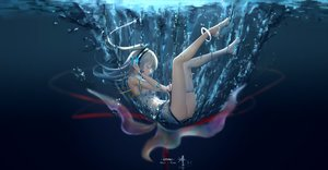 Rating: Safe Score: 115 Tags: hc headphones jpeg_artifacts long_hair ponytail tagme_(character) thighhighs underwater utau water wristwear User: RyuZU