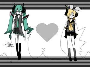 Rating: Safe Score: 240 Tags: eyepatch hatsune_miku horns kagamine_rin twintails vocaloid User: HawthorneKitty