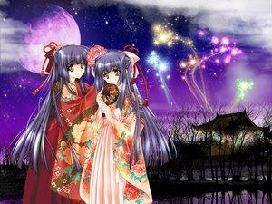 Rating: Safe Score: 11 Tags: blue_hair carnelian fireworks japanese_clothes kao_no_nai_tsuki kuraki_mizuna kuraki_suzuna long_hair moon night twins yellow_eyes User: Oyashiro-sama