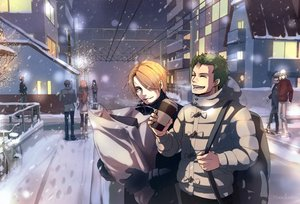 Rating: Safe Score: 36 Tags: all_male bicycle blonde_hair building cigarette drink green_hair male marmalade_(elfless_vanilla) one_piece roronoa_zoro sanji scenic snow thighhighs watermark winter User: mattiasc02