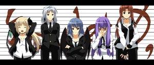 Rating: Safe Score: 37 Tags: blue_hair flandre_scarlet glasses gloves group hong_meiling izayoi_sakuya patchouli_knowledge purple_hair remilia_scarlet shinya_(nanpp) suit tie touhou vampire wings User: opai