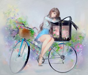 Rating: Safe Score: 115 Tags: bicycle blue_eyes bow brown_hair dadachyo dress flowers long_hair original ribbons signed User: mattiasc02