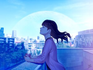 Rating: Safe Score: 35 Tags: building city clouds drink foo_midori long_hair original planet polychromatic rooftop signed sky tree User: otaku_emmy