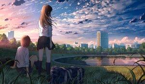 Rating: Safe Score: 90 Tags: brown_hair building city clouds grass kneehighs k_ryo long_hair original park reflection scenic school_uniform short_hair skirt sky tree water User: RyuZU