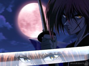 Rating: Safe Score: 6 Tags: all_male himura_kenshin male moon night reflection rurouni_kenshin scar sword weapon User: Oyashiro-sama