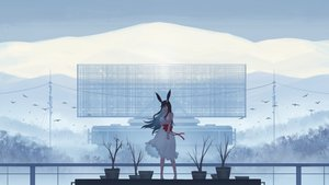 Rating: Safe Score: 53 Tags: animal animal_ears barefoot bird black_hair bow bunny_ears clouds dress long_hair original ribbons scenic sky summer_dress tagme_(artist) User: ssagwp