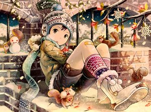 Rating: Safe Score: 86 Tags: all_male animal bandaid black_hair boots christmas gray_eyes hat hoodie male noeyebrow_(mauve) original scarf short_hair shorts snow snowman socks winter User: Flandre93