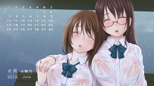 Rating: Questionable Score: 75 Tags: 2girls bow breasts brown_hair calendar dark glasses kozue_akari long_hair nipples no_bra original rain see_through seifuku shirt shoujo_ai sleeping waifu2x water wet User: otaku_emmy