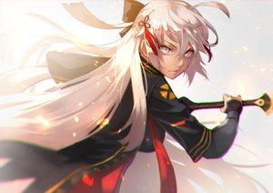 Rating: Safe Score: 41 Tags: dark_skin fate/grand_order fate_(series) gray_eyes gray_hair long_hair sakura_saber sakura_saber_alter sword tagme_(artist) weapon User: otaku_emmy