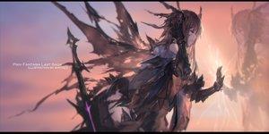 Rating: Safe Score: 81 Tags: brown_hair elbow_gloves gloves long_hair original pixiv_fantasia purple_eyes reflection swd3e2 sword watermark weapon wings User: RyuZU