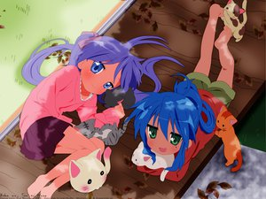 Rating: Safe Score: 44 Tags: blue_hair hiiragi_kagami izumi_konata lucky_star purple_hair User: mikucchi