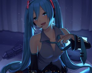 Rating: Safe Score: 82 Tags: apple aqua_eyes aqua_hair computer cropped dark food fruit hatsune_miku long_hair nokuhashi twintails vocaloid User: mattiasc02