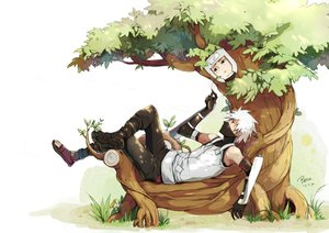 Rating: Safe Score: 13 Tags: black_eyes grass hatake_kakashi headband leaves linjie male naruto naruto_shippuden red_eyes signed tree white white_hair yamato_(naruto) User: STORM