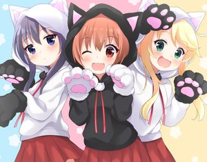 Rating: Safe Score: 37 Tags: animal_ears blonde_hair blue_eyes brown_eyes brown_hair catgirl cat_smile fang gloves green_eyes himesaka_noa hoodie hoshino_hinata loli long_hair maccha purple_hair shirosaki_hana short_hair skirt watashi_ni_tenshi_ga_maiorita! wink User: otaku_emmy
