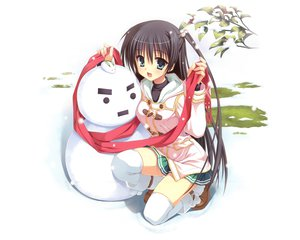 Rating: Safe Score: 102 Tags: kobuichi kousaka_chihaya natsuzora_kanata scarf snow snowman thighhighs winter yuzusoft User: Wiresetc