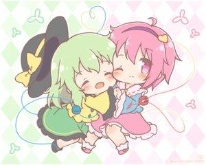 Rating: Safe Score: 18 Tags: 2girls chibi dress green_hair hat komeiji_koishi komeiji_satori mitarashi_neko pink_eyes pink_hair shoujo_ai touhou watermark wink User: Xionglongztz
