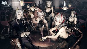 Rating: Safe Score: 100 Tags: animal_ears arknights black_hair dress drink gray_hair hellagur_(arknights) ines_(arknights) liduke lin_yuxia_(arknights) logo male pointed_ears ponytail purple_eyes red_eyes schwarz_(arknights) short_hair tagme_(character) tail twintails w_(arknights) white_hair User: BattlequeenYume