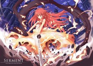 Rating: Safe Score: 186 Tags: building dress fire katana long_hair nncat red_eyes red_hair shakugan_no_shana shana sword torn_clothes watermark weapon User: opai