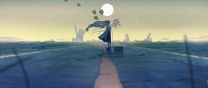 Rating: Safe Score: 96 Tags: dress kurohal long_hair original ruins scenic sky techgirl wings User: FormX