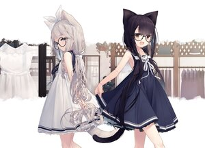 Rating: Safe Score: 70 Tags: 2girls animal_ears aqua_eyes black_hair brown_eyes catgirl dress glasses gloves gray_hair long_hair original ponytail scan school_uniform summer_dress tail tokuno_yuika twintails User: Nepcoheart