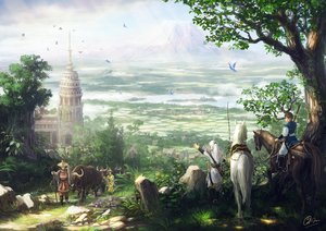 Rating: Safe Score: 126 Tags: animal bird bow_(weapon) building grass hat horse landscape makkou4 male original scenic signed tree water weapon User: Flandre93