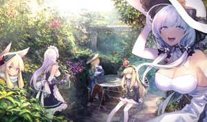 Rating: Safe Score: 69 Tags: animal_ears anthropomorphism azur_lane belfast_(azur_lane) blonde_hair blue_eyes bow breasts cleavage dress drink elbow_gloves flowers gloves group hat hood_(azur_lane) illustrious_(azur_lane) long_hair maid mephist-pheles purple_eyes queen_elizabeth_(azur_lane) scarf summer_dress twintails warspite_(azur_lane) white_hair User: RyuZU