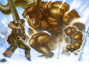 Rating: Safe Score: 8 Tags: armor bandage berserk black_hair gloves guts short_hair snow sword weapon winter zodd User: Paladin2k9