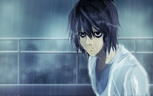 Rating: Safe Score: 50 Tags: all_male black_hair death_note l male rain tagme_(artist) water User: happygestapo