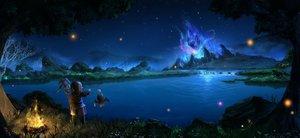 Rating: Safe Score: 126 Tags: final_fantasy final_fantasy_xiv fire grass jpeg_artifacts lalafell moogle night sanyuejiuri scenic water User: mattiasc02