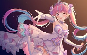 Rating: Safe Score: 95 Tags: breasts cleavage dress elbow_gloves gloves gradient hololive icwine long_hair microphone minato_aqua purple_eyes purple_hair tiara twintails wink User: BattlequeenYume