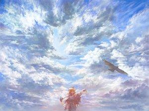 Rating: Safe Score: 55 Tags: animal bird blonde_hair braids clouds matsuda_(matsukichi) original sky User: w7382001