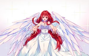 Rating: Safe Score: 79 Tags: breasts cleavage dress hyanna-natsu long_hair necklace original red_eyes red_hair wings wristwear User: luckyluna