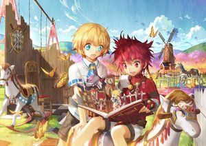 Rating: Safe Score: 9 Tags: all_male animal aqua_eyes blonde_hair blush book butterfly chung_(elsword) clouds elsword elsword_(character) gloves grass horse male red_eyes red_hair scorpion5050 short_hair shorts sky sword weapon windmill User: RyuZU