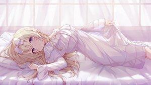 Rating: Safe Score: 96 Tags: bed blonde_hair blue_eyes bow dress long_hair original ramunezake see_through User: BattlequeenYume