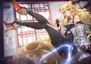 Rating: Safe Score: 71 Tags: arknights blonde_hair blue_eyes gloves horns leizi_(arknights) long_hair pantyhose pointed_ears ryuuzaki_ichi tail User: Nepcoheart