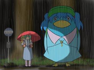 Rating: Safe Score: 30 Tags: blonde_hair blue_hair green_hair hat kawashiro_nitori kochiya_sanae moriya_suwako parody rain reon_(saikyou) tonari_no_totoro touhou umbrella water User: PAIIS