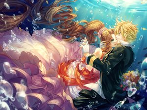 Rating: Safe Score: 101 Tags: aeris_gainsborough blonde_hair brown_hair bubbles cat_princess cloud_strife dress final_fantasy final_fantasy_vii flowers gloves green_eyes long_hair male ponytail short_hair suit underwater water User: FormX
