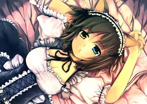 Rating: Safe Score: 191 Tags: animal_ears awl bed bicolored_eyes breasts brown_hair catgirl cleavage maid original User: Tensa