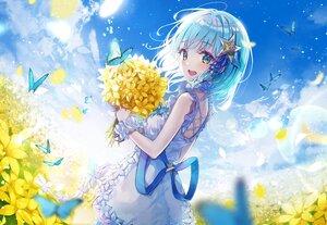Rating: Safe Score: 32 Tags: aqua_eyes aqua_hair blush butterfly clouds dress eumi_114 flowers ribbons sky User: BattlequeenYume